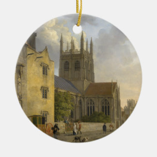 Vintage Painting of Merton College Oxford England Ceramic Ornament
