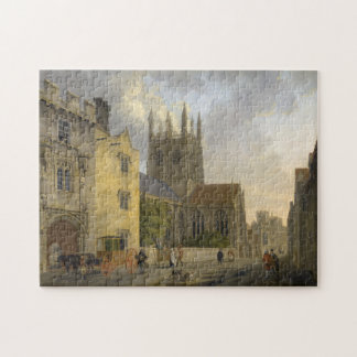 Vintage Painting of Merton College Oxford England Jigsaw Puzzle