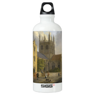 Vintage Painting of Merton College Oxford England Water Bottle