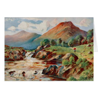 Vintage painting of the river Conan in Ross-shire Card