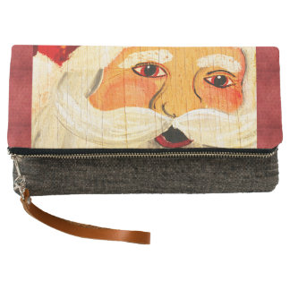 Vintage Painting Santa Clause Face Weathered Clutch