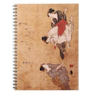 Vintage Painting Three Drunken Women Spiral Notebooks