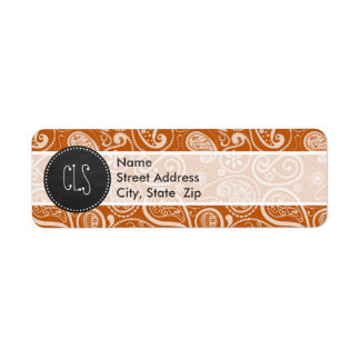 Vintage Paisley anaranjada quemada pizarra Floral Etiqueta De Remite