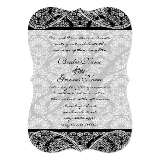 Vintage Paisley Black Damask Weddings Card
