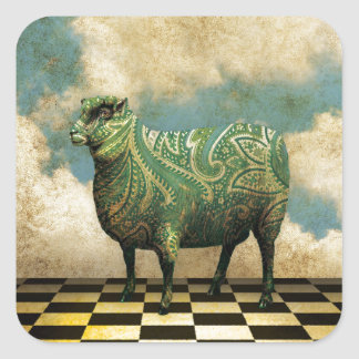 Vintage Paisley Blue Green Sheep Square Sticker