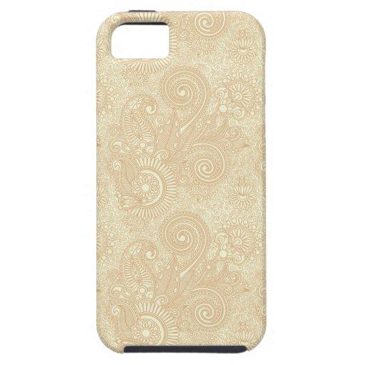 Vintage Paisley de encaje en crema/moreno/oros iPhone 5 Case-Mate Protector