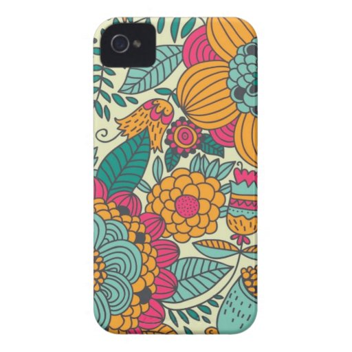 Vintage Paisley Flowers Case-Mate iPhone 4 Cases