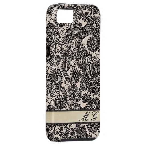 Vintage Paisley Lace Monogram Iphone 5 Case