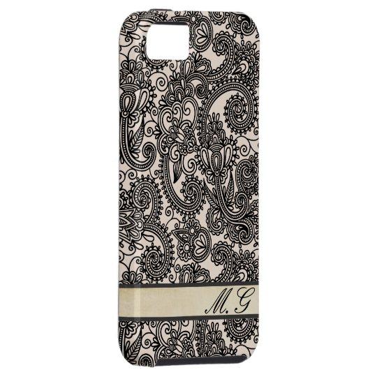 Vintage Paisley Lace Monogram Iphone 5 Case