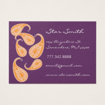 Professional Business Vintage Paisley Orange and Plum Business Card