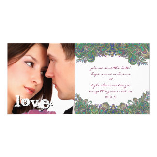 Vintage Paisley Peacock Colors Save The Date Photo Card