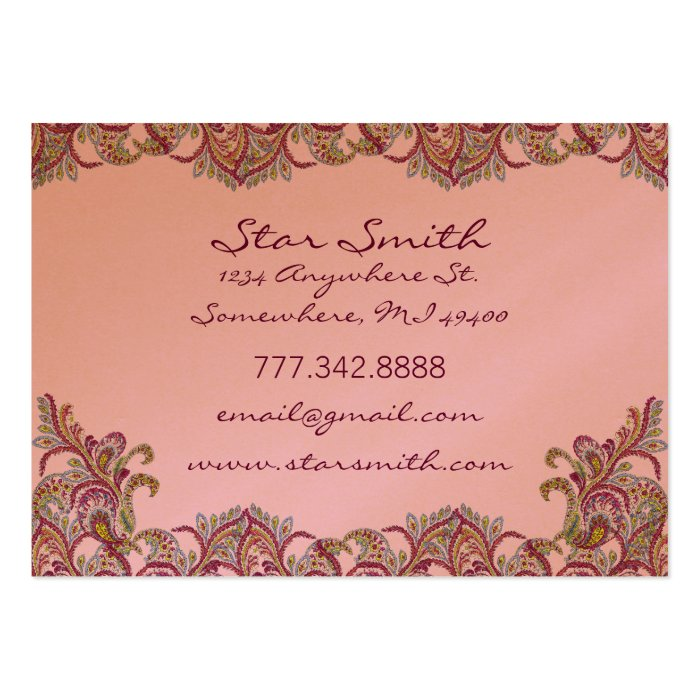 Vintage Paisley Pink and  Raspberry Large Business Card