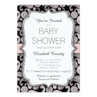 Vintage Paisley Pink Black Baby Shower Invitation