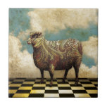 """Vintage Paisley Sheep in Brown Ceramic Tile<br><div class=""""desc"""">Charming Vintage Paisley Pattern Sheep on Black and White Check Floor with Clouds</div>"""