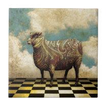 Vintage Paisley Sheep in Brown Ceramic Tile
