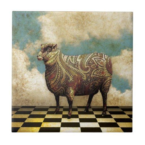 Vintage Paisley Sheep in Brown Tiles