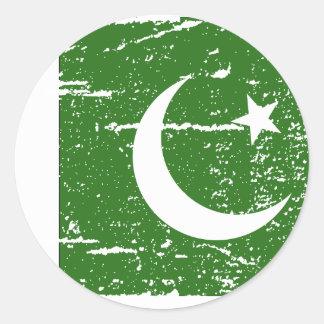 Vintage Pakistan Flag Classic Round Sticker