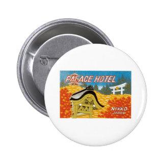 Vintage Palace Hotel Japan Label Art Pins