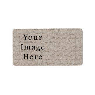 Vintage Pale Brown Tan Script Text Parchment Paper Label