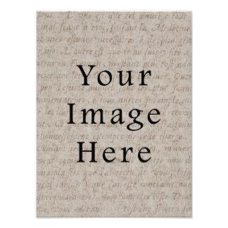 Vintage Pale Brown Tan Script Text Parchment Paper Photo Print