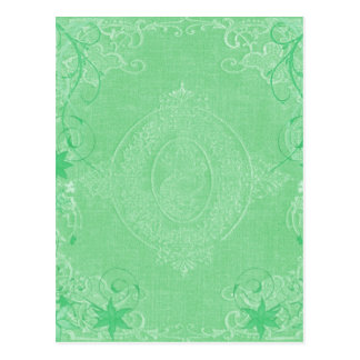 Vintage pale mint green, antique book cover style postcard