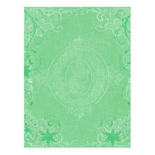 Vintage Book Cover Postcards : Vintage pale mint green antique book cover style postcard