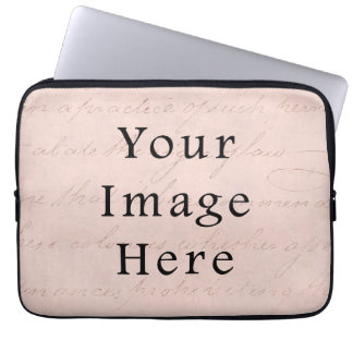 Vintage Pale Pink Rose Script Text Parchment Paper Computer Sleeve