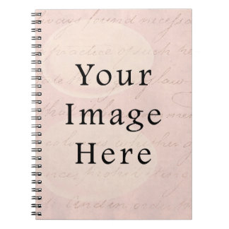 Vintage Pale Pink Rose Script Text Parchment Paper Notebook