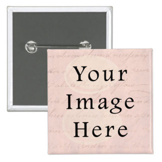 Vintage Pale Pink Rose Script Text Parchment Paper Pinback Button