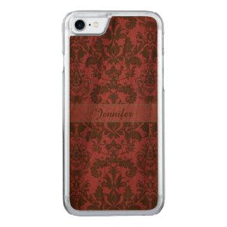 Vintage, pale violet red & sand brown Damask name Carved iPhone 8/7 Case