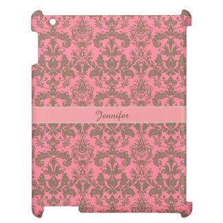 Vintage, pale violet red & sand brown Damask name Cover For The iPad