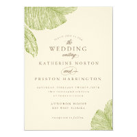 Vintage Palm Destination Beach Wedding Invitation