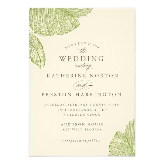 Vintage Beach Wedding Invitations: Vintage Palm Destination Beach Wedding Invitation
