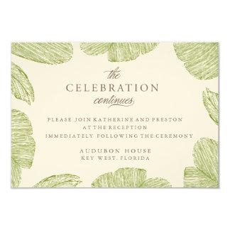 Vintage Palm Destination Beach Wedding Reception Card