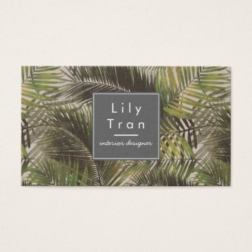 Professional Business Vintage Palm Leaves Business Card