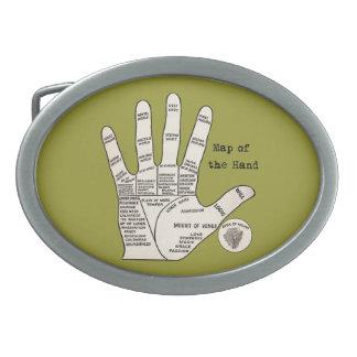 Vintage palm reading palmistry Hand Map Belt Buckle
