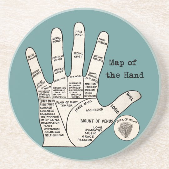 Vintage palm reading palmistry Hand Map Drink Coaster
