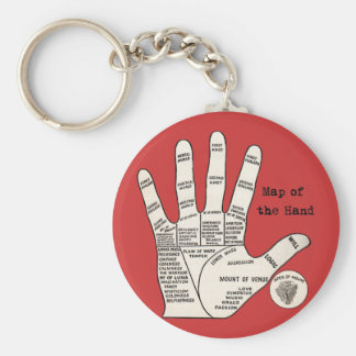 Vintage palm reading palmistry Hand Map Keychain