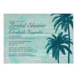 Vintage Palm Tree Burlap Bridal Shower Invitations