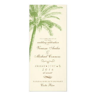 Vintage Palm Tree Long Wedding Invitation