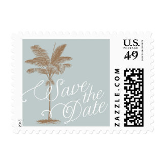 Vintage Palm Tree Save the Date Stamp