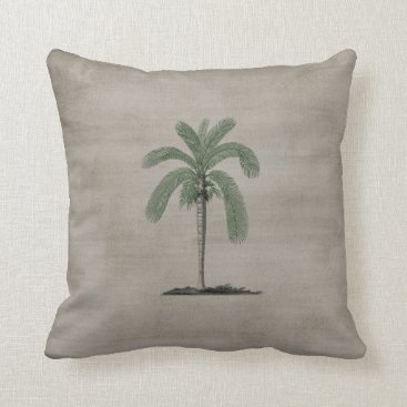 Beach Themed Vintage Palm Tree Throw Pillow