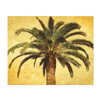Vintage Palm Tree - Tropical Customized Template Stretched Canvas Print