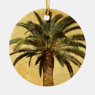 Vintage Palm Tree - Tropical Customized Template Ceramic Ornament