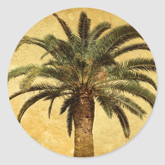 Vintage Palm Tree - Tropical Customized Template Classic Round Sticker