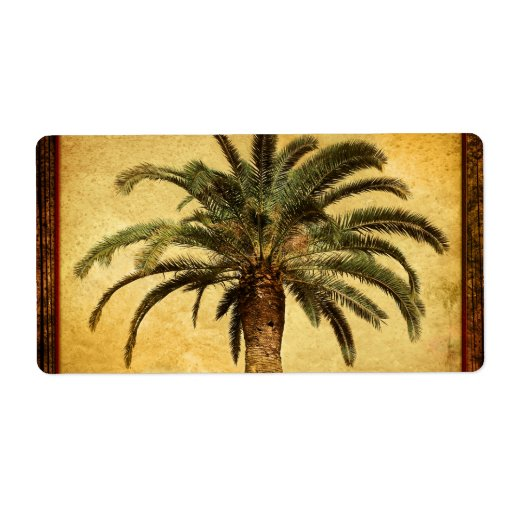 Vintage Palm Tree - Tropical Customized Template Label