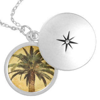 Vintage Palm Tree - Tropical Customized Template Locket Necklace