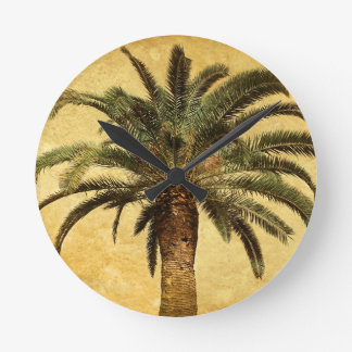 Vintage Palm Tree - Tropical Customized Template Round Clock