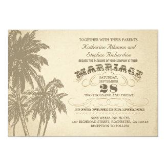 vintage palm tree typographic wedding invitation