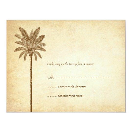 Vintage Palm Tree Wedding RSVP Cards